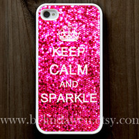 iphone 4 case, iphone 4s case, Keep Calm and sparkle Painting white hard case, hot pink sparkle