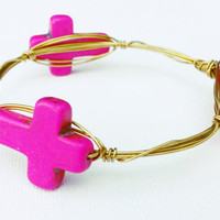 Fuchsia Dyed Turquoise Wire Wrapped Bangle - Large Cross Bangle Bracelet - Faith Wire Wrapped Bracelet - Gold Cross Jewelry - Lightweight