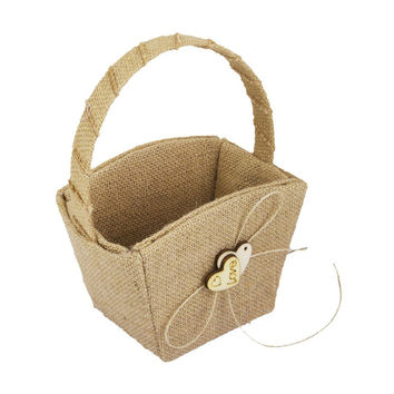 Vintage Wedding Burlap Hessian Flower Girl Basket Wooden Heart Bridal Party Hessian Burlap Girl Basket Wedding Basket