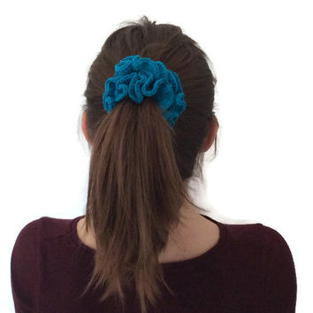 Crochet Scrunchie Handmade - Hair scrunchie elastic tie - Child hair accessories - Teen pony tail accessories - Spring accessories handmade