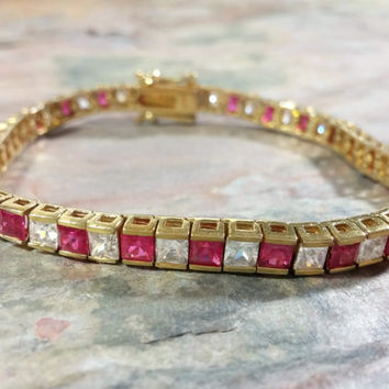 Overlay Gold Tennis Bracelet Sterling Silver Deep Pink and Clear White Cubic Zirconia Square Shaped Gemstones Very Lovely Bracelet