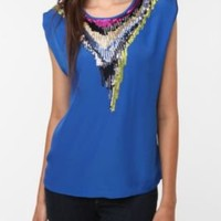 UrbanOutfitters.com > Olive & Oak Sequin Necklace Blouse