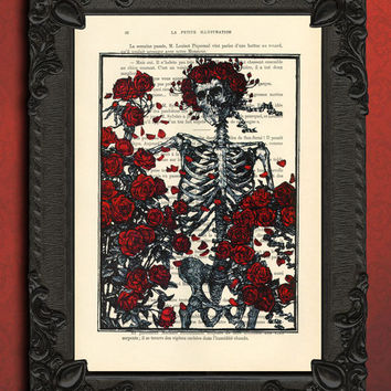 Skeleton art, skeleton with roses book art, anatomy print - anatomy art, human anatomy art print - dictionary art, wall decor - wall hanging