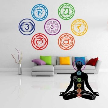 19X19CM Chakras wallpaper Stickers Mandala Yoga Om Meditation Symbol Wall Decals Chakra Home Decor Wall Decoration Wall decal