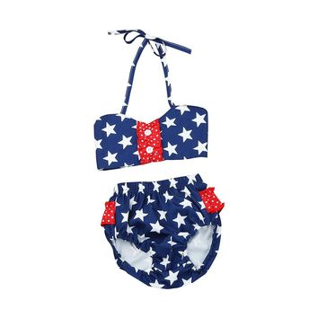 Girls Stars & Stripes 2 pc Swimsuit - Free Shipping