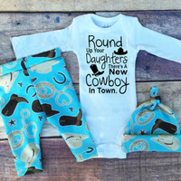 Cute Baby Girl Cowboy Bodysuit Baby Boy Letter T-Shirt Toddler Cartoon Pants Clothes New Infant Autumn 3pcs Outfits