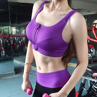Womens Profession Zipper Sports Bras Tank Top Running Fitness Workout Yoga Bra Vest -02