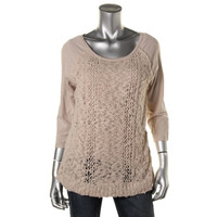 Maison Jules Womens Knit Woven Pullover Top