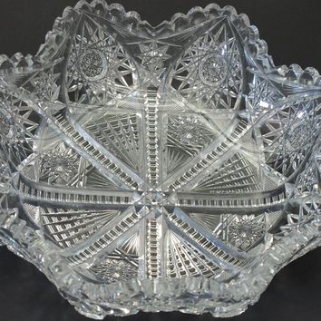 Hawkes Nelson American Brilliant Period Hand Cut Glass Antique blow out bowl abp