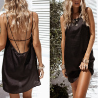 New summer sexy Women solid color backless suspender dress-0531