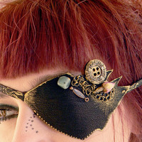 Eye patch, leather eye patch, pirate, eyewear, all seeing eye, steampunk, gothic,victorian gothic,sequins, black and golden,leather jewelry