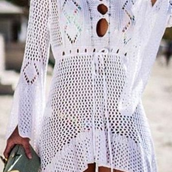 Under The Boardwalk Crochet Lace Long Sleeve V Neck Cut Out High Low Mini Dress Beach Cover Up - 7 Colors Available