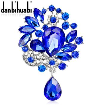 danbihuabi Large Drop Brooch Pin badges for Party Glass Pins and Broches for Women Clothes Metal badges Clip for scarf