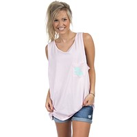 Louisiana Lovely State Pocket Tank Top in Pink by Lauren James