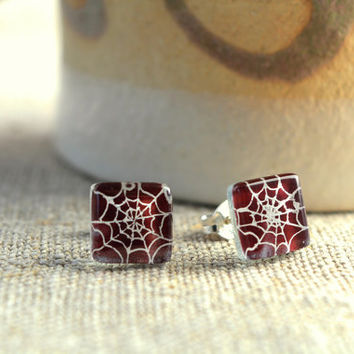 Halloween earrings - Spider web earrings - Fused glass earrings - Sterling silver stud earrings - Plum post earrings - halloween jewelry