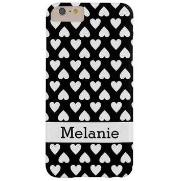 Black And White Hearts Pattern Custom Name Barely There iPhone 6 Plus Case