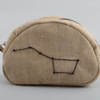 Handmade designer gray sailcloth cosmetics bag with embroidered constellation