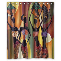 African Woman Working  Art Waterproof Shower Curtain With 12 Hooks