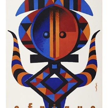 french airline AFRIQUE modern african art VINTAGE TRAVEL POSTER 24X36 rare