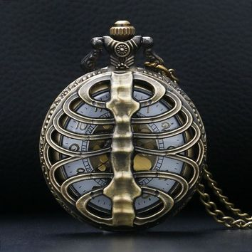 Steampunk Ribbed Case Pocket Watch with Back Design
