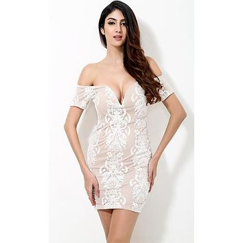 Natural Wonder Beige White Lace Short Sleeve Off The shoulder V Neck Bodycon Mini Dress