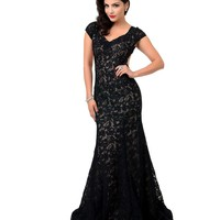 1930s Style Black Cap Sleeve Lace Open Back Gown
