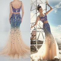 Sparkly Glitter Two Piece Evening Dresses Mermaid with Straps Crystals Beads Celebrity Arabic Bridal Prom wedding party gown
