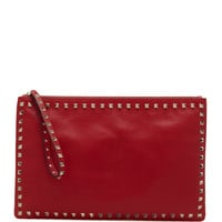 Rockstud Zip Clutch, Red - Valentino