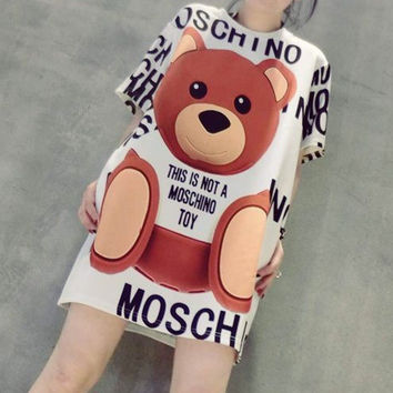 """Moschino"" Fashion Casual Cartoon Bear Letter Print Loose Short Sleeve T-shirt Mini Dress"