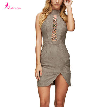 Summer Dress 2017 Lace Up Sexy Pencil Off the Shoulder Women Dress Empire Mini Casual Style Party Dress Woman Clothing