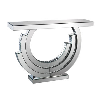 Layered Crescent Mirrored Console Clear