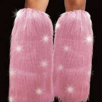 Light Up Hot Pink LED Furry Leg Warmers - Rave Costume Fluffies