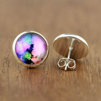 watercolour galaxy stud earrings, fake plugs, silver