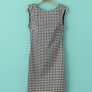 Sleeveless Backless Houndstooth Bodycon Mini Dress