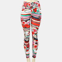 Red Floral Abstract Leggings
