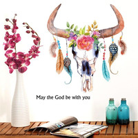 3D New Carative Feather Flower Leaf Ox Horn Wall Stickers Home Wall Decal