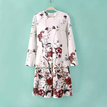 Women's Fashion Long Sleeve Floral Print Ruffle One Piece Dress [4917783428]
