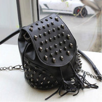 New Women Black Backpack Satchel Shoulder Bag PU Punk Skull Fringe Bucket Bag