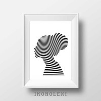 Modern wall art, black and white, woman silhouette, poster, wall decor, Op art, wall prints, gifts for her, apartment decor, minimalist art