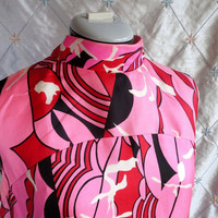 ON SALE 60s Dress // Vintage 1960s Pucci Inspired Pink Red and Black Geometric Print Dress by Suzy Perette New York Size M L
