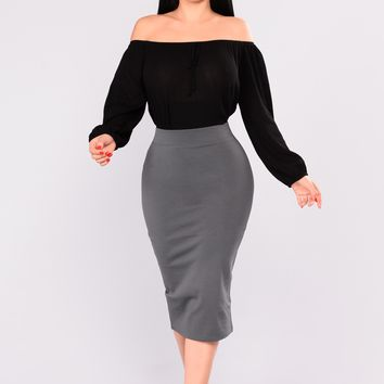 Pencil You In Skirt - Charcoal