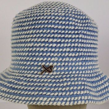 Blue white lace womens bucket hat cap adjustable.