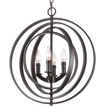 "Revel Orbits 18"" 4-Light Modern Sphere/Orb Chandelier, Bronze Finish"