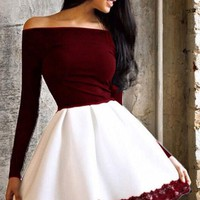 New Women Patchwork Lace Off Shoulder Prom Evening Party Tutu Fashion Mini Dress