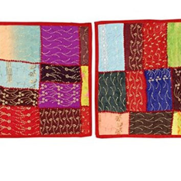 2 Indian Pillowcases Red Sari Patchwork Sequin Beaded Toss Cushion Covers India