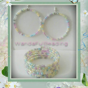 Pastel Color Memory Wire Bracelet & Hoop Earrings Set - $14.00 - Handmade Jewelry, Crafts and Unique Gifts by WandaFulBeading