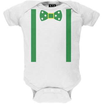 St. Patricks Day - Shamrock Bowtie Baby One Piece