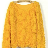 Spring Summer Pretty Yellow Roses Long Sleeves Pullover Top. Flower Crop Top