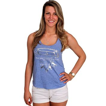Throw Your Diamonds Tank Top in Light Blue by Judith March - FINAL SALE