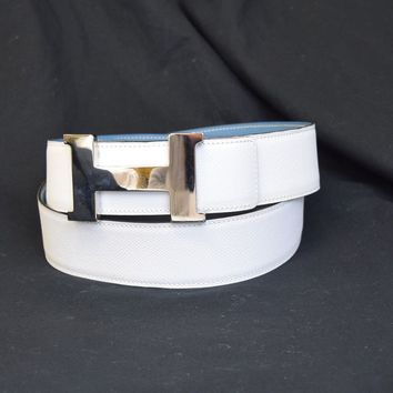 Auth HERMES Constance H Buckle Reversible Belt Leather Silver White 105 88EC103